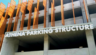 Athena Parking Structure sign