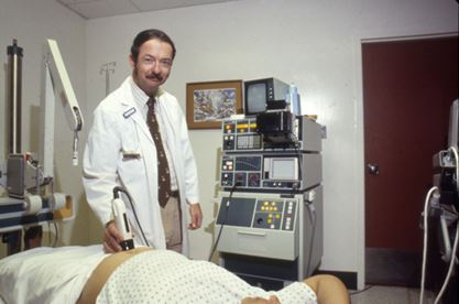 doctor performs an ultrasound, 1986