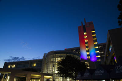 Rainbow lighting of hospital for Pride