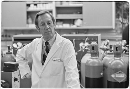 John West, a pulmonologist, in his lab