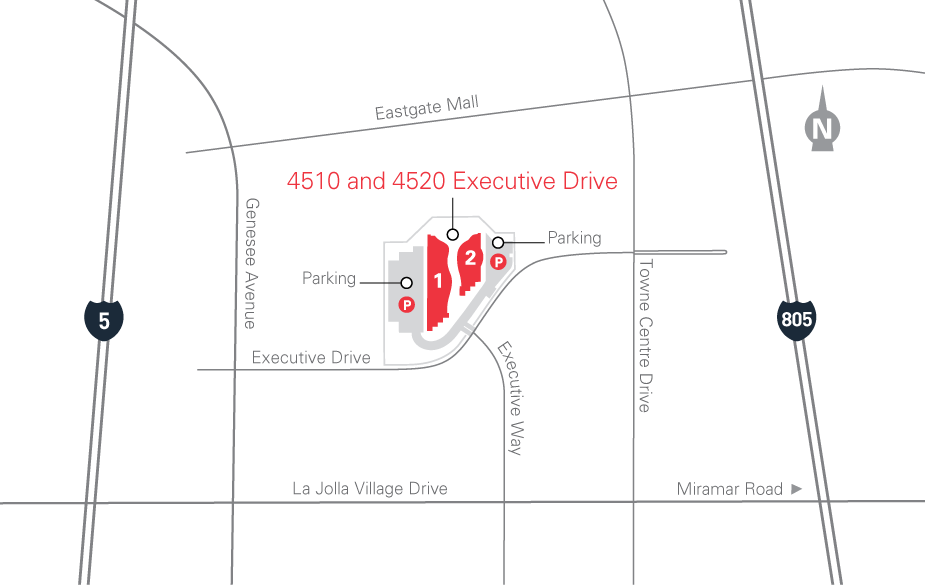 Map for 4510 and 4520 Executive Drive