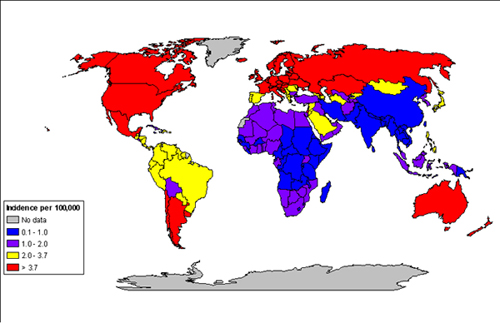 MAP OF RENAL CANCER INCIDENCE RATES IN FEMALES