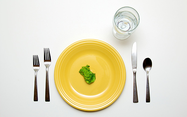 dinner plate with lettuce leaf