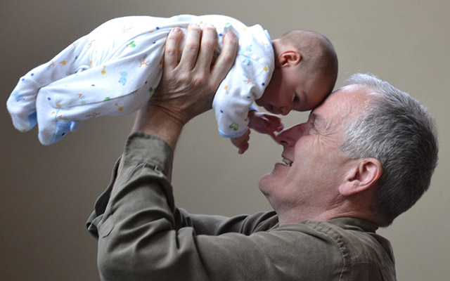 grandfather and baby
