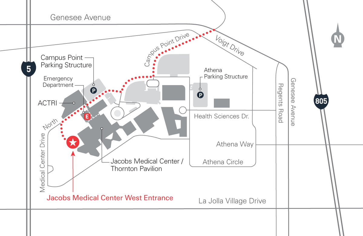 map for Jacobs Medical Center's dropp-off and parking locations